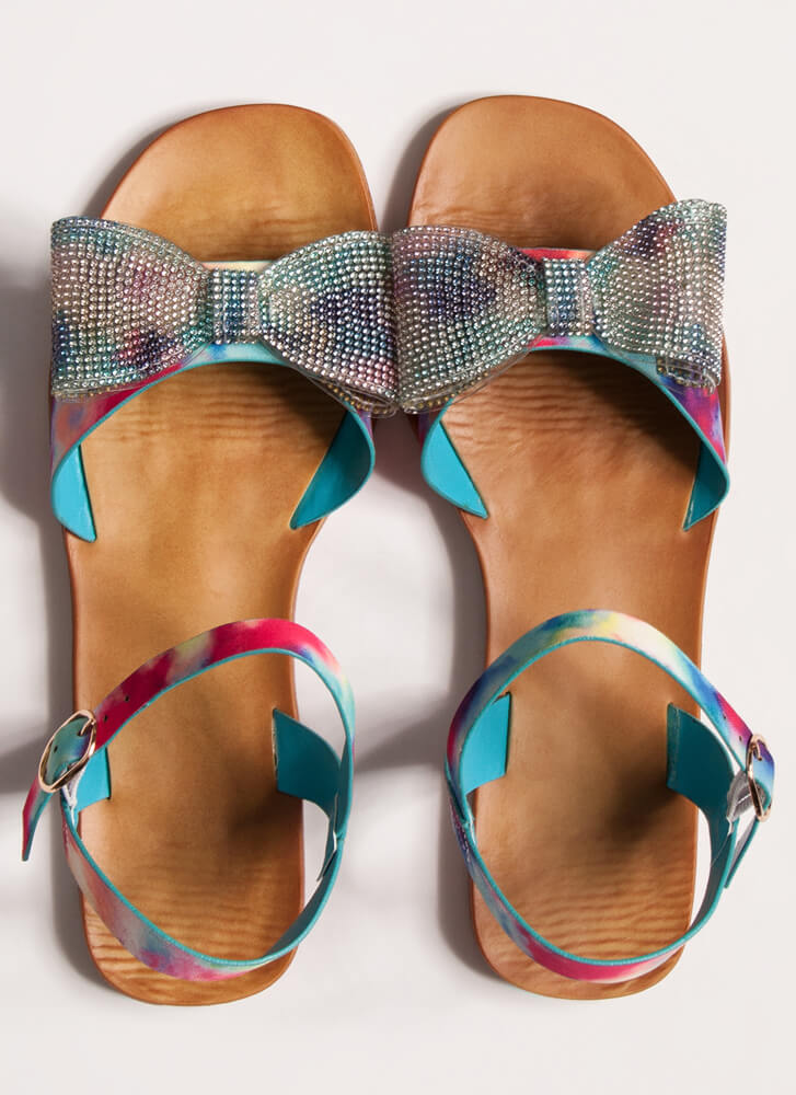 Colorful Girl Printed Jewel Bow Sandals BLUE