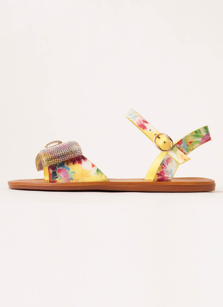 Colorful Girl Printed Jewel Bow Sandals YELLOW