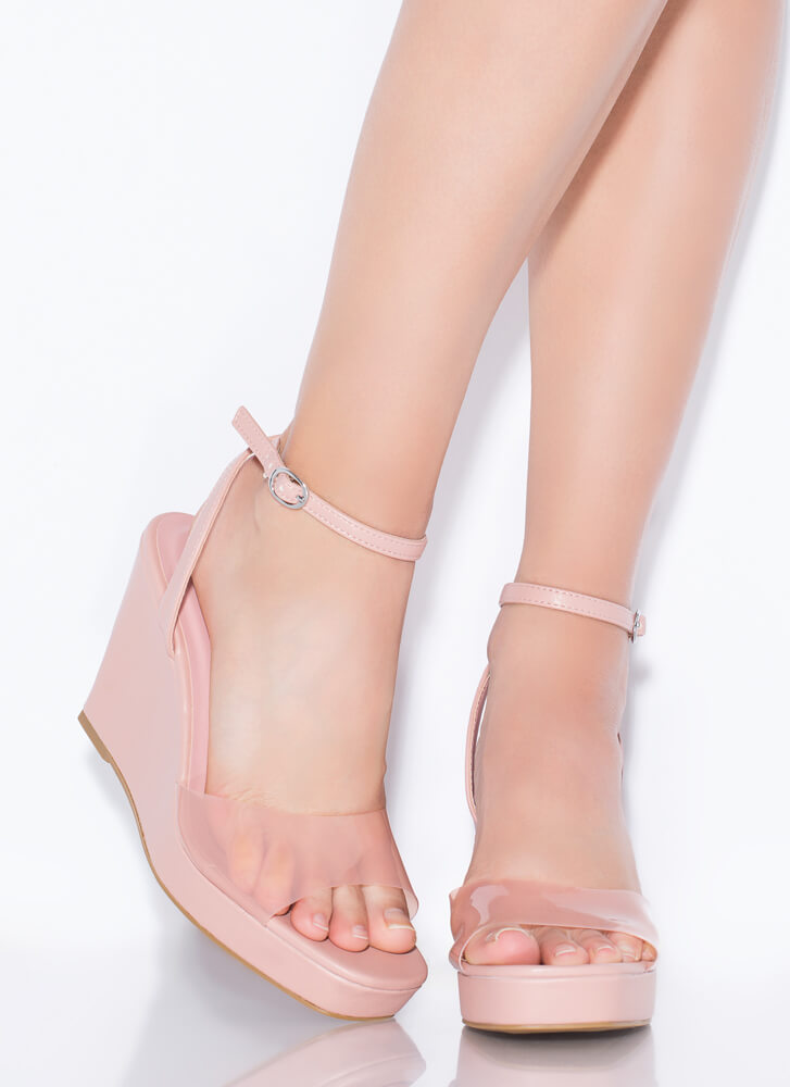 Clear Out Strappy Faux Leather Wedges BLUSH