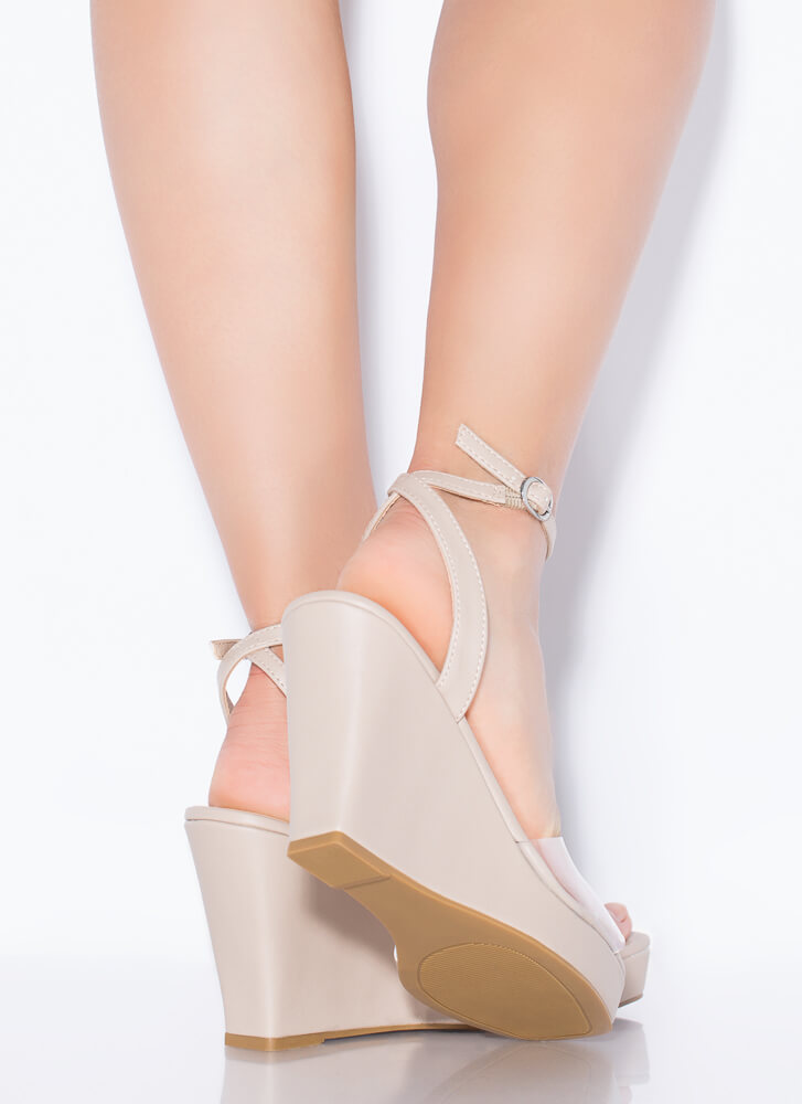 Clear Out Strappy Faux Leather Wedges NUDE