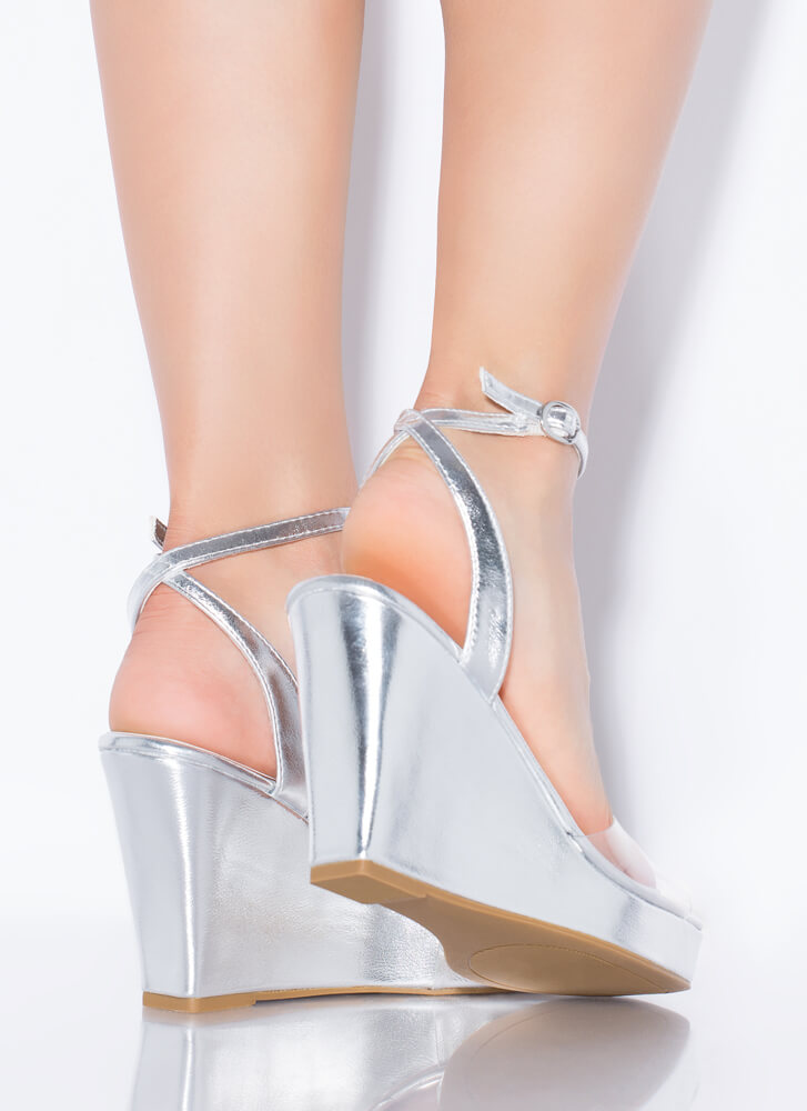Clear Out Strappy Metallic Wedges SILVER