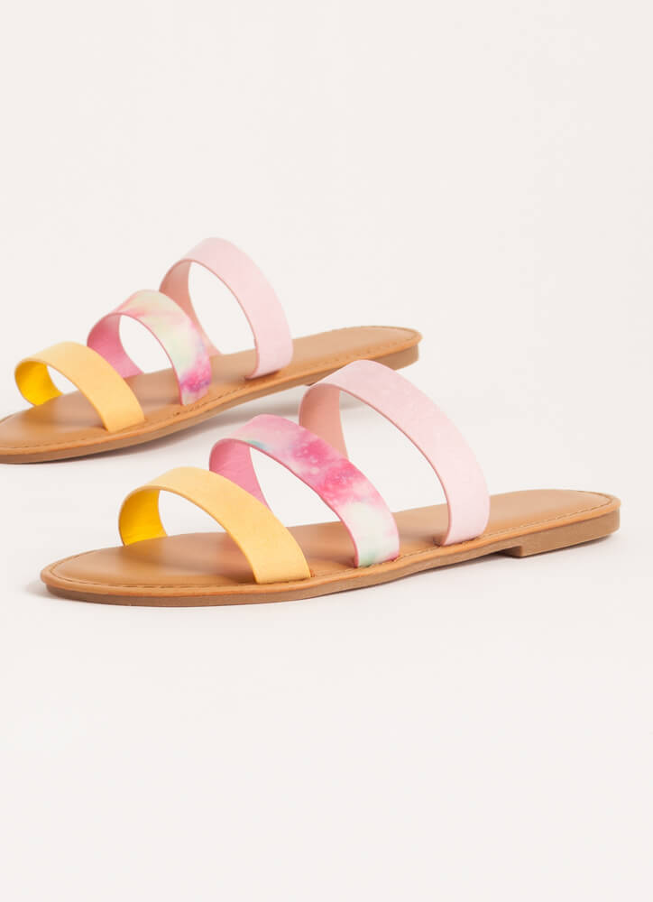 It Comes In Threes Strappy Slide Sandals AMBER