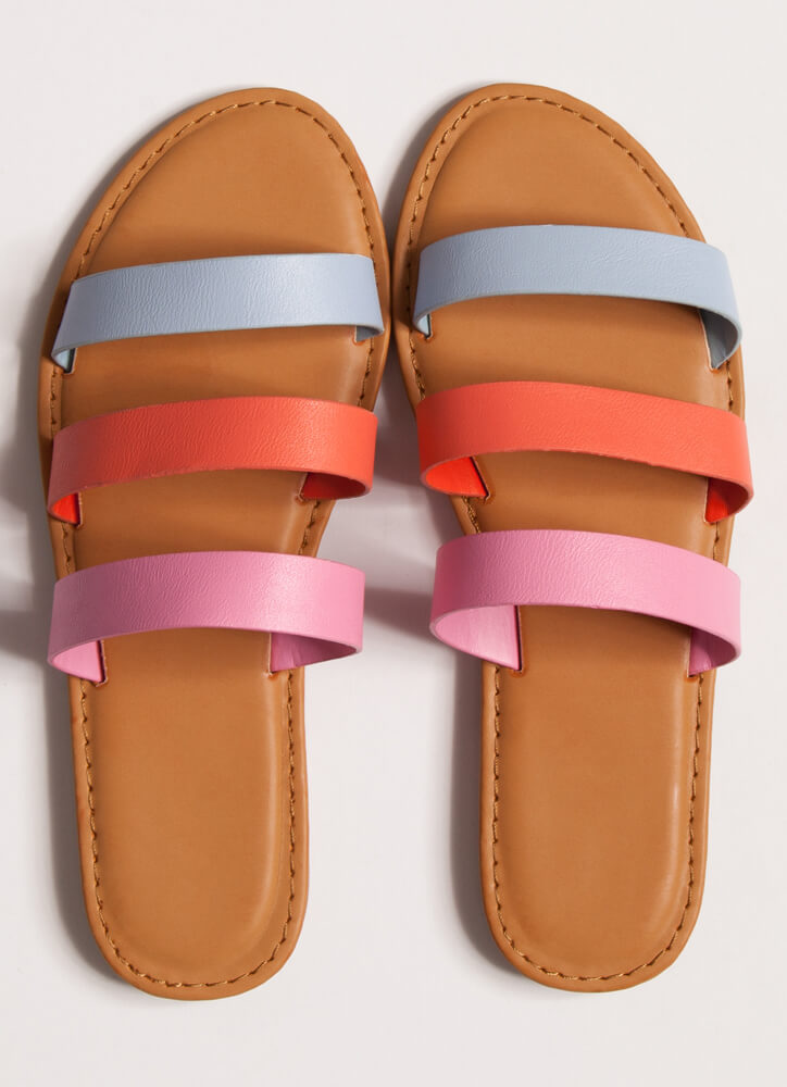 It Comes In Threes Strappy Slide Sandals BLUE