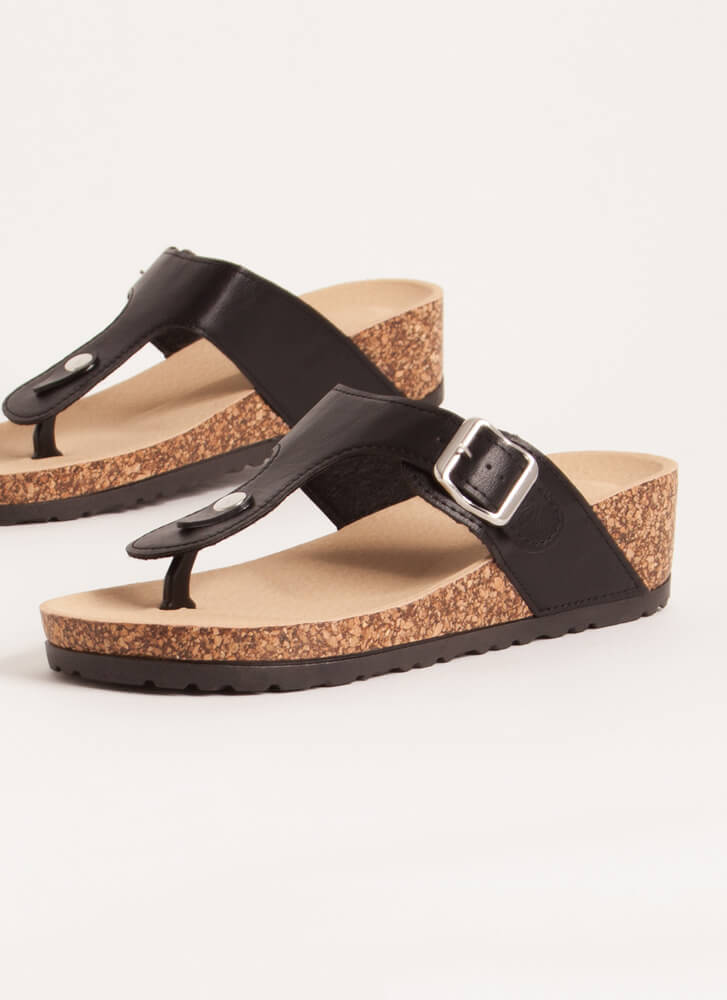 Livin' On The Wedge Thong Sandals BLACK