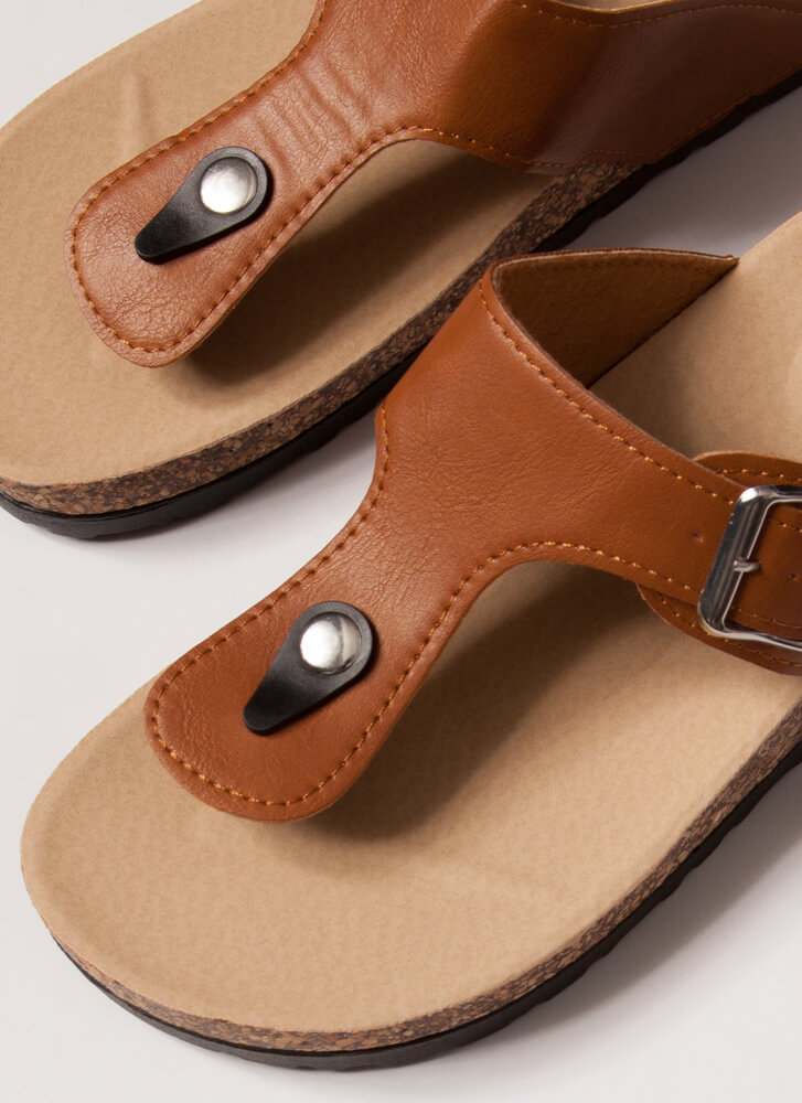 Livin' On The Wedge Thong Sandals TAN