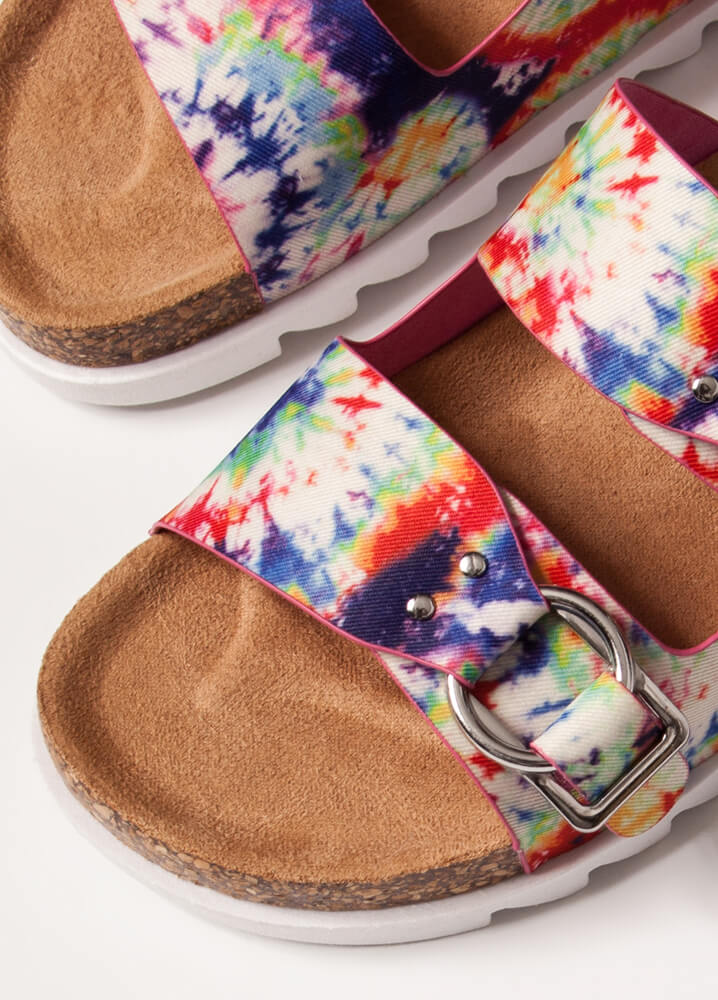 Fundays Buckled Tie-Dye Slide Sandals WHITE