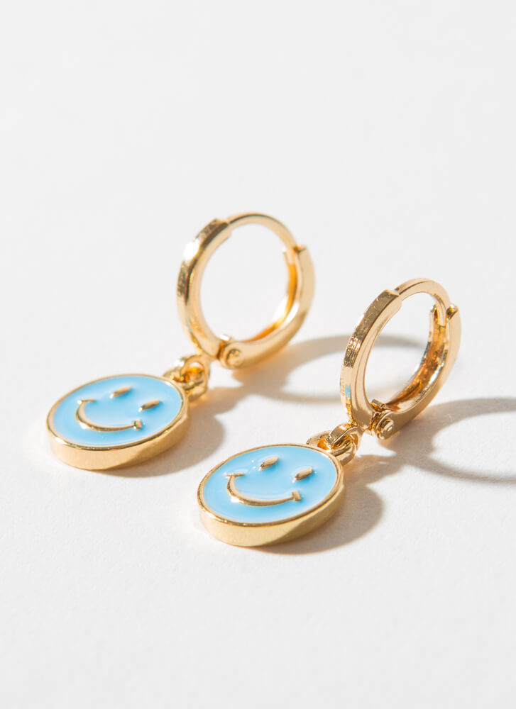 Big Smile Small Happy Face Hoop Earrings TURQUOISE