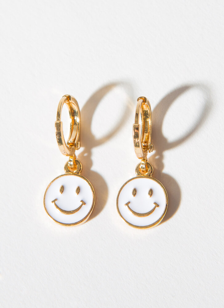 Big Smile Small Happy Face Hoop Earrings WHITE