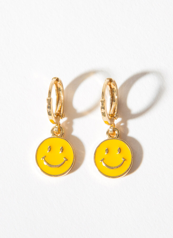 Big Smile Small Happy Face Hoop Earrings YELLOW