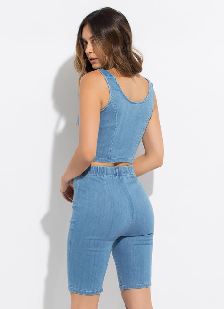Play On Zip-Up Denim Top And Shorts Set MEDBLUE
