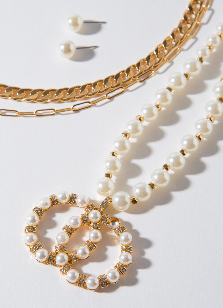 Pearls Like You Chain Necklace Set GOLDCREAM