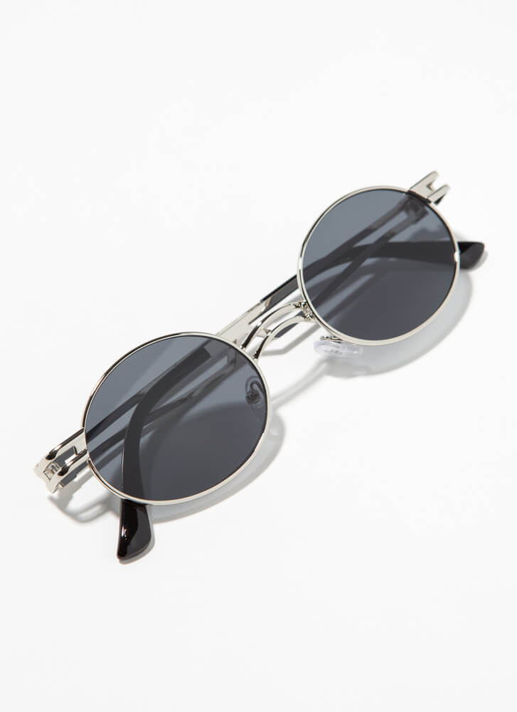 Poetry Reading Small Round Sunglasses BLACKSILVER