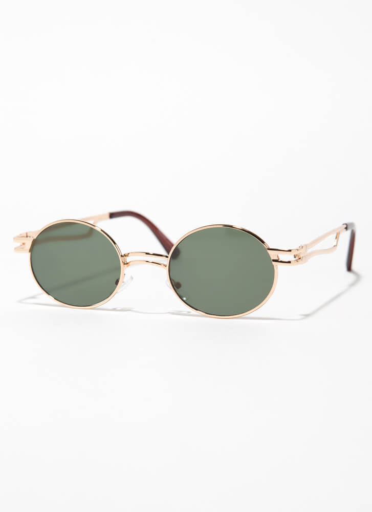Poetry Reading Small Round Sunglasses GREEN