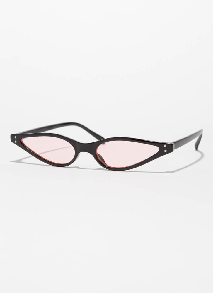 Color Theory Skinny Cat-Eye Sunglasses PINK