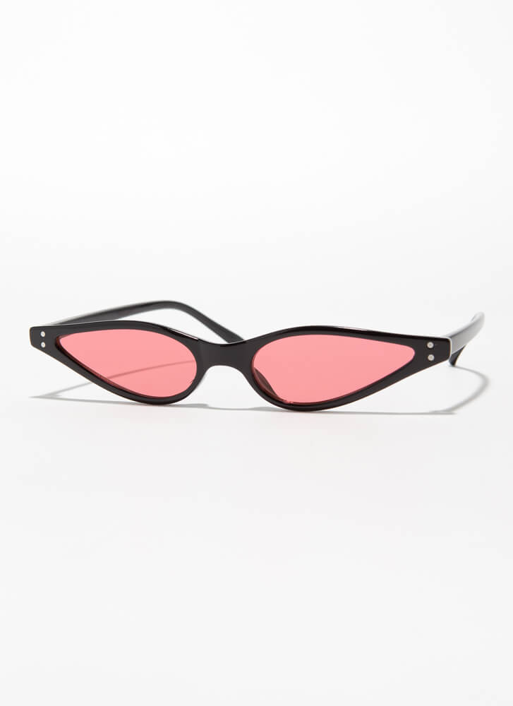 Color Theory Skinny Cat-Eye Sunglasses RED