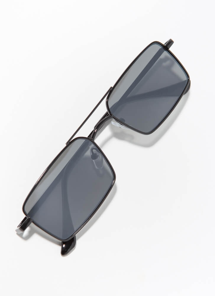 Down To The Wire Rectangular Sunglasses BLACK