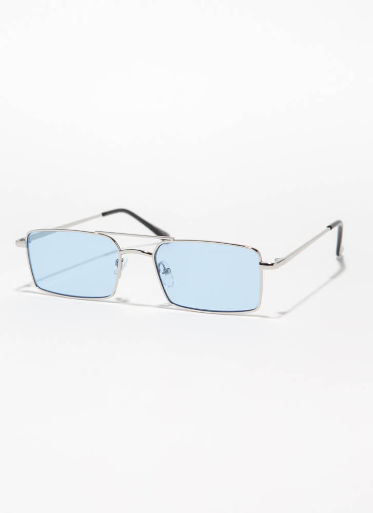 Down To The Wire Rectangular Sunglasses BLUE