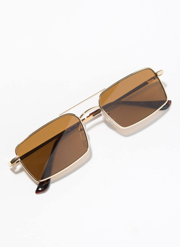 Down To The Wire Rectangular Sunglasses BROWN