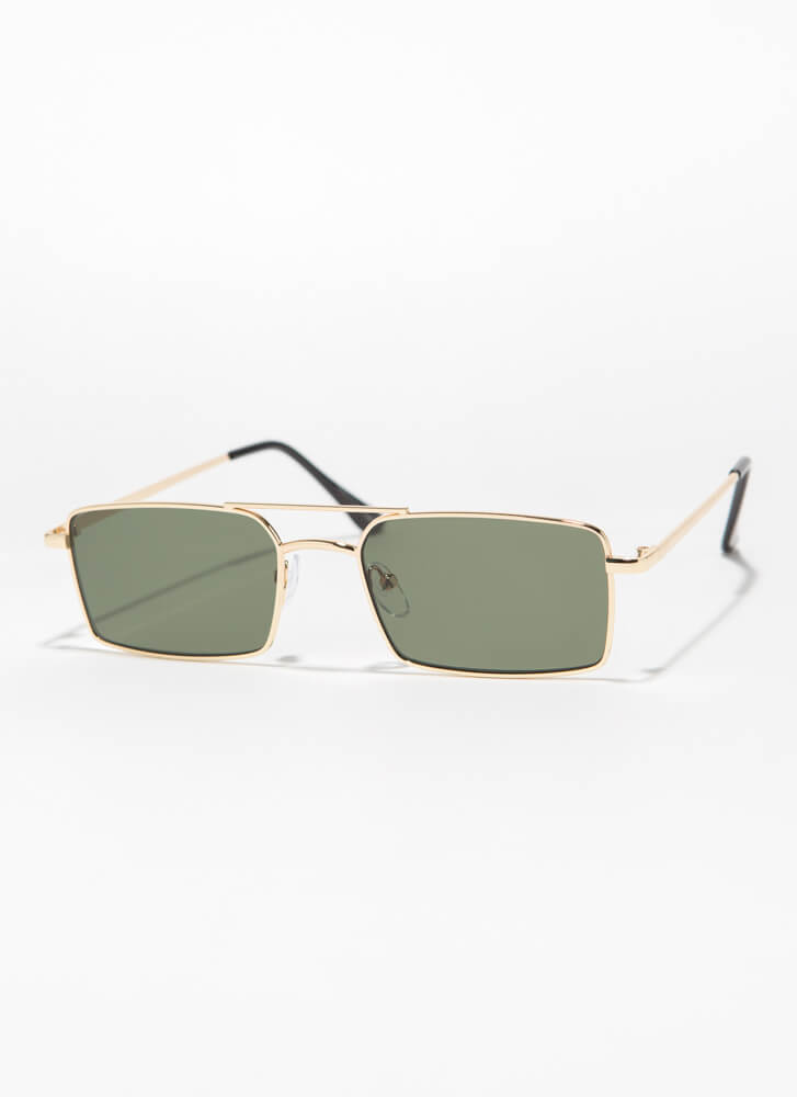 Down To The Wire Rectangular Sunglasses GREEN