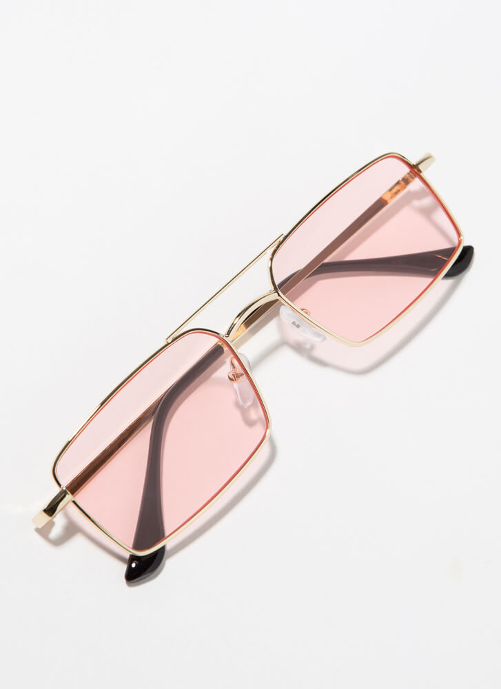 Down To The Wire Rectangular Sunglasses PINK