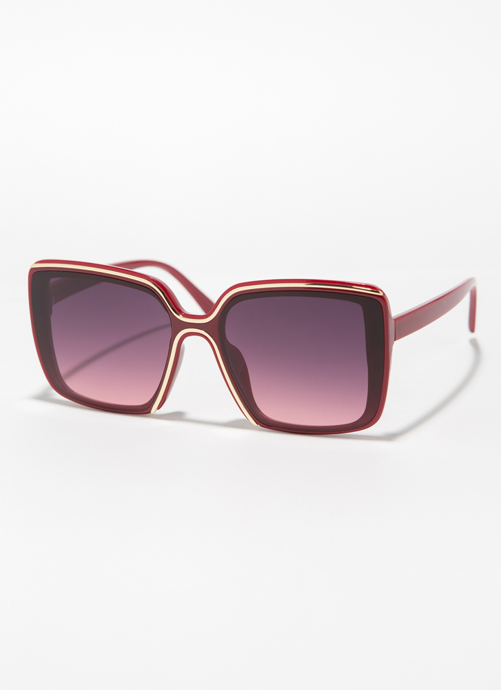 Fine Lines Trimmed Oversized Sunglasses RED
