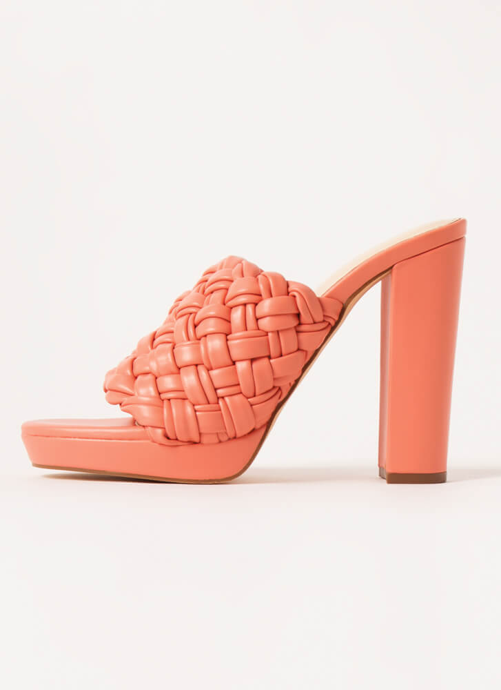 Weave It Chunky Faux Leather Mule Heels CORAL