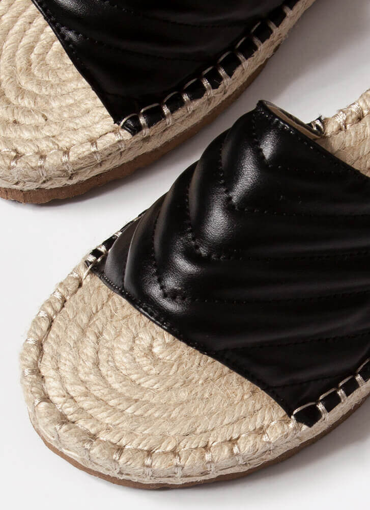 My Pad Quilted Braided Slide Sandals BLACK