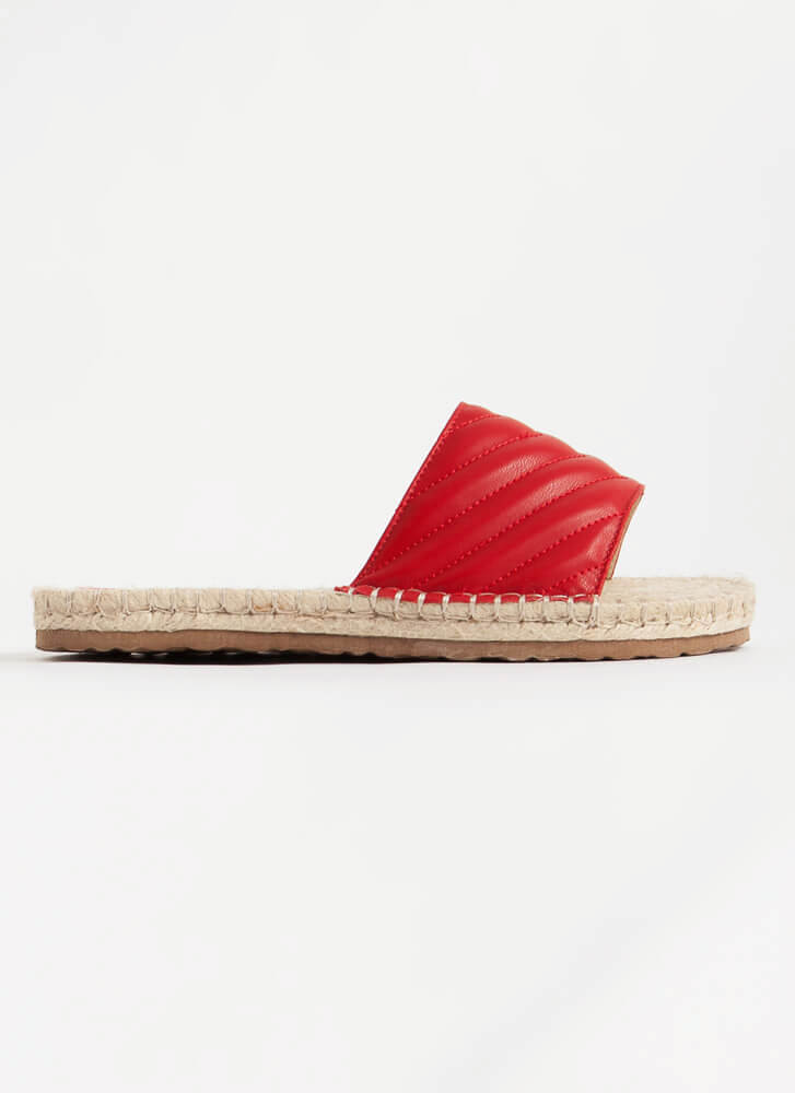 My Pad Quilted Braided Slide Sandals RED