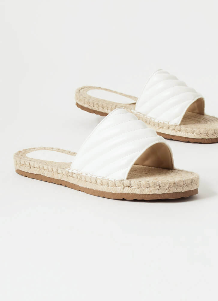 My Pad Quilted Braided Slide Sandals WHITE