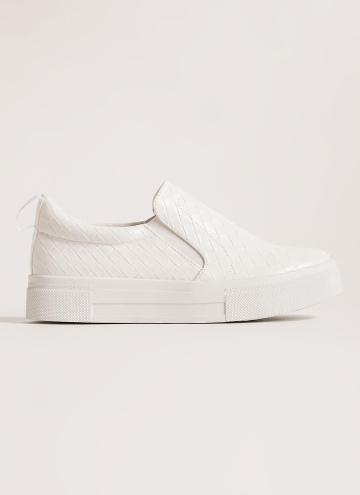 Weave It Faux Leather Slip-On Sneakers WHITE