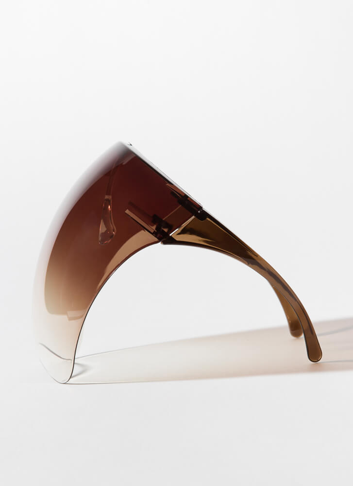 Cover Me Ombre Face Shield Glasses BROWN