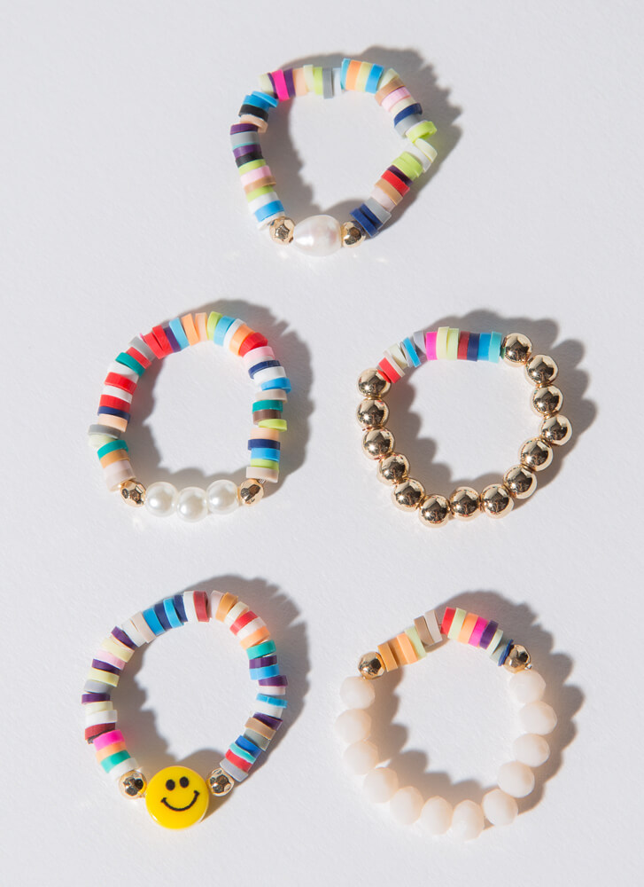 Color Me Happy Stretchy Beaded Ring Set MULTI