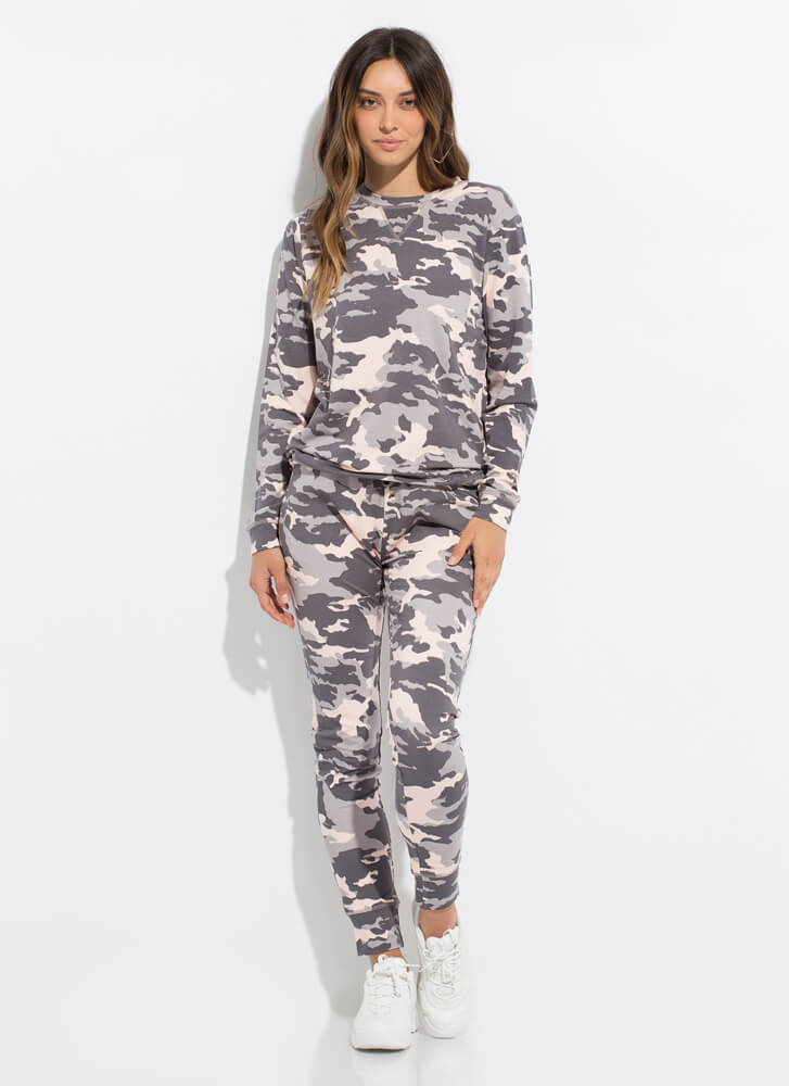 Do You See Me Now Camo Sweatpant Joggers GREYPINK