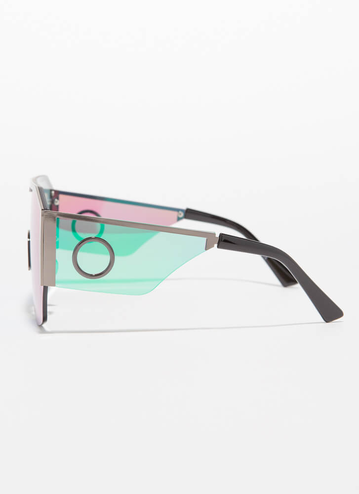Ring Girl Trimmed Goggle Sunglasses BLUEGREEN