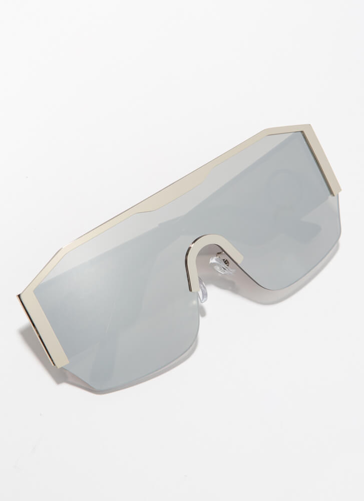 Ring Girl Trimmed Goggle Sunglasses SILVER