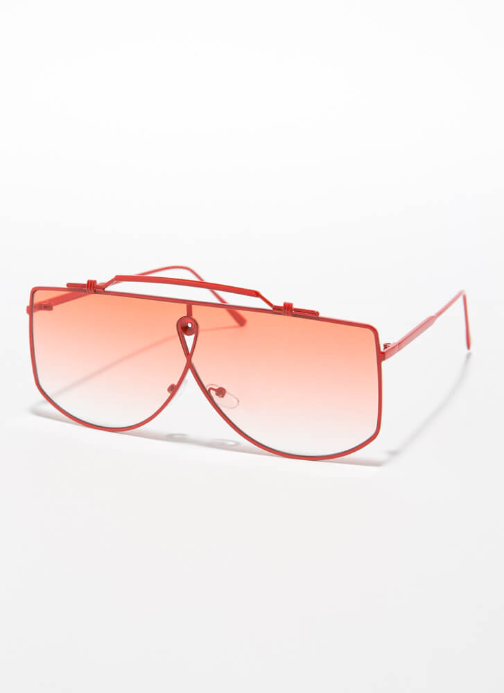 Wire Transfer Top Bar Sunglasses RED