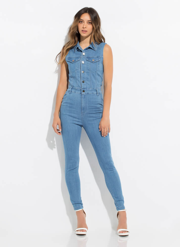 1 And Done Button-Up Denim Jumpsuit MEDBLUE