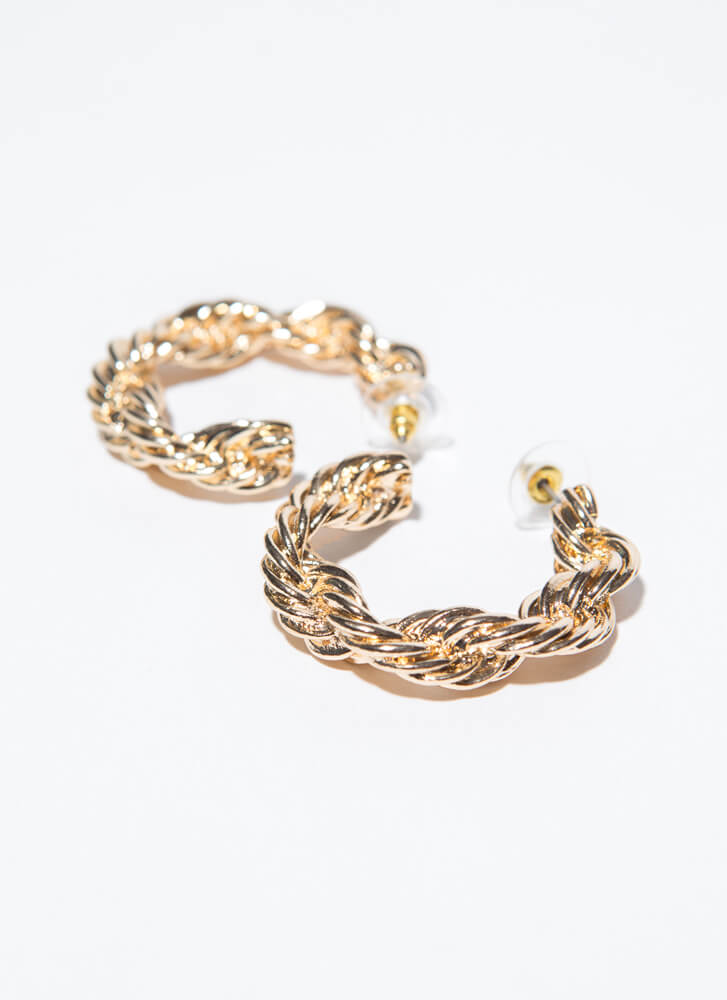 Tight Rope Chunky Twisted Hoop Earrings GOLD