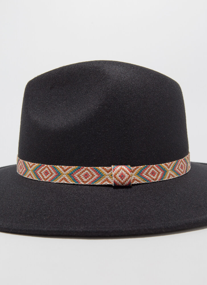 Fashion Tapestry Trimmed Felted Fedora BLACK