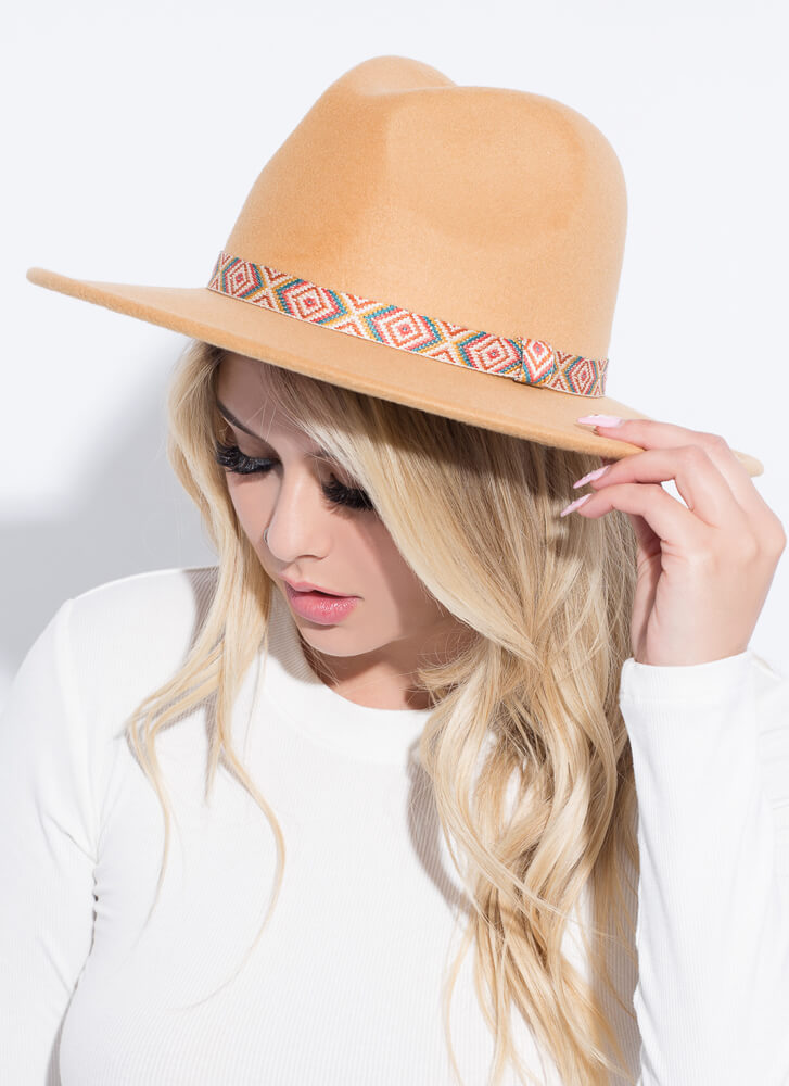 Fashion Tapestry Trimmed Felted Fedora CAMEL