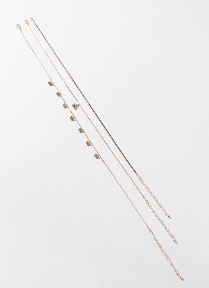 Wing It On Butterfly Necklace Set GOLD