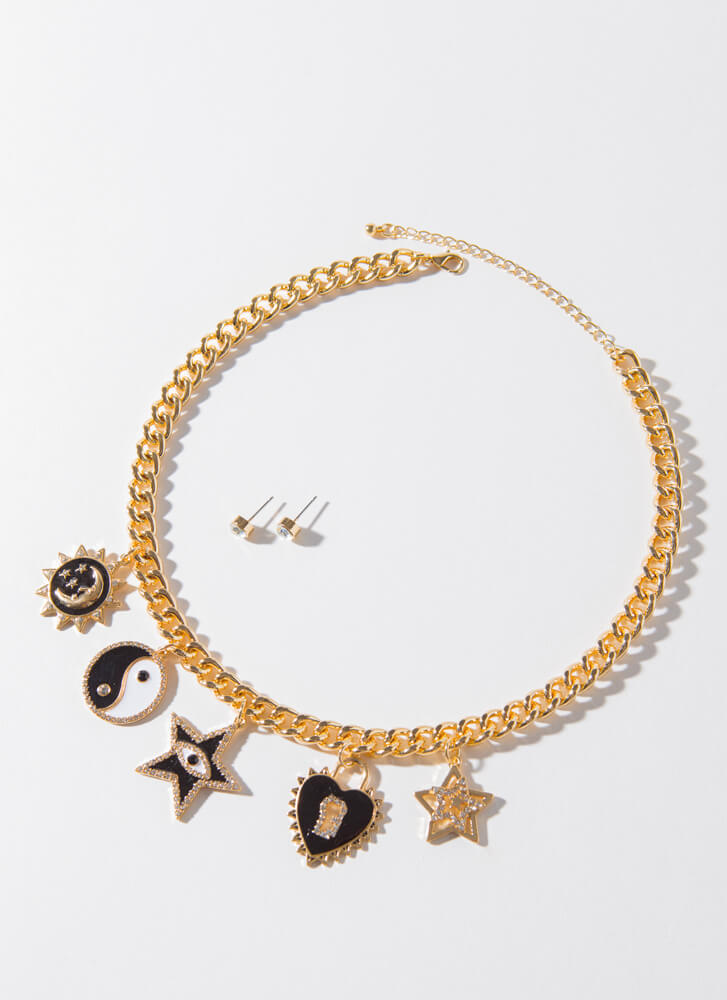 In The Stars Jeweled Charm Necklace Set GOLDBLACK