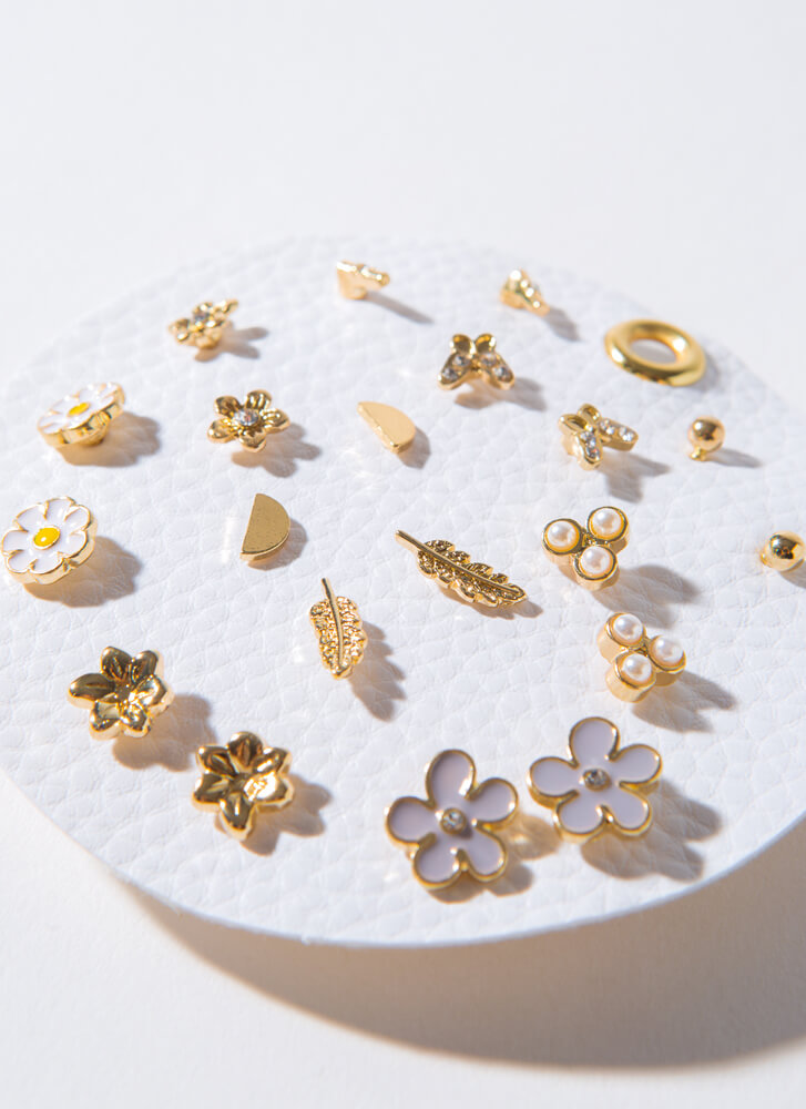 Pretty By Nature 10-Pair Earring Set GOLD