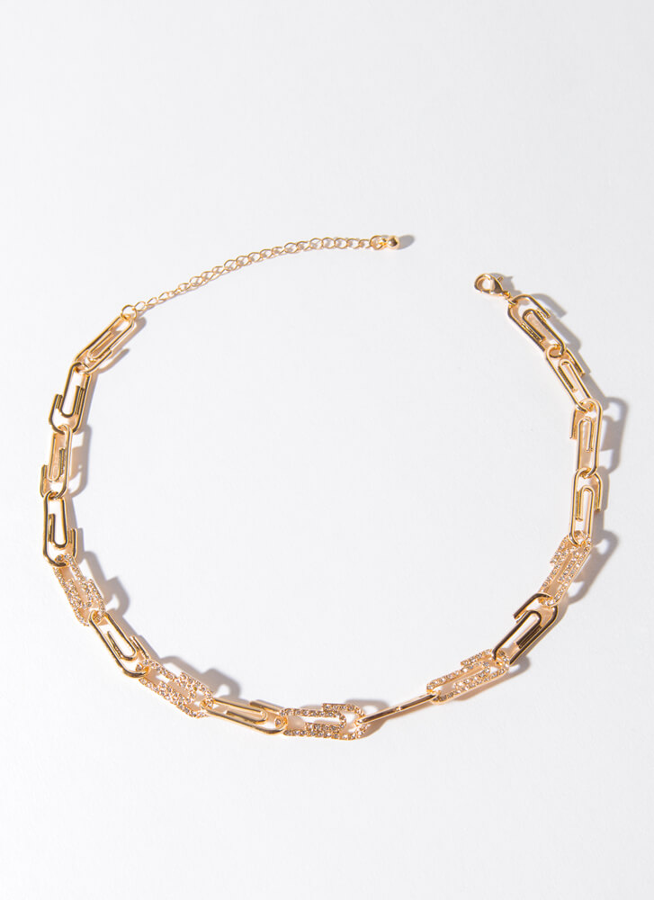 Collate Jeweled Paper Clip Choker  GOLD