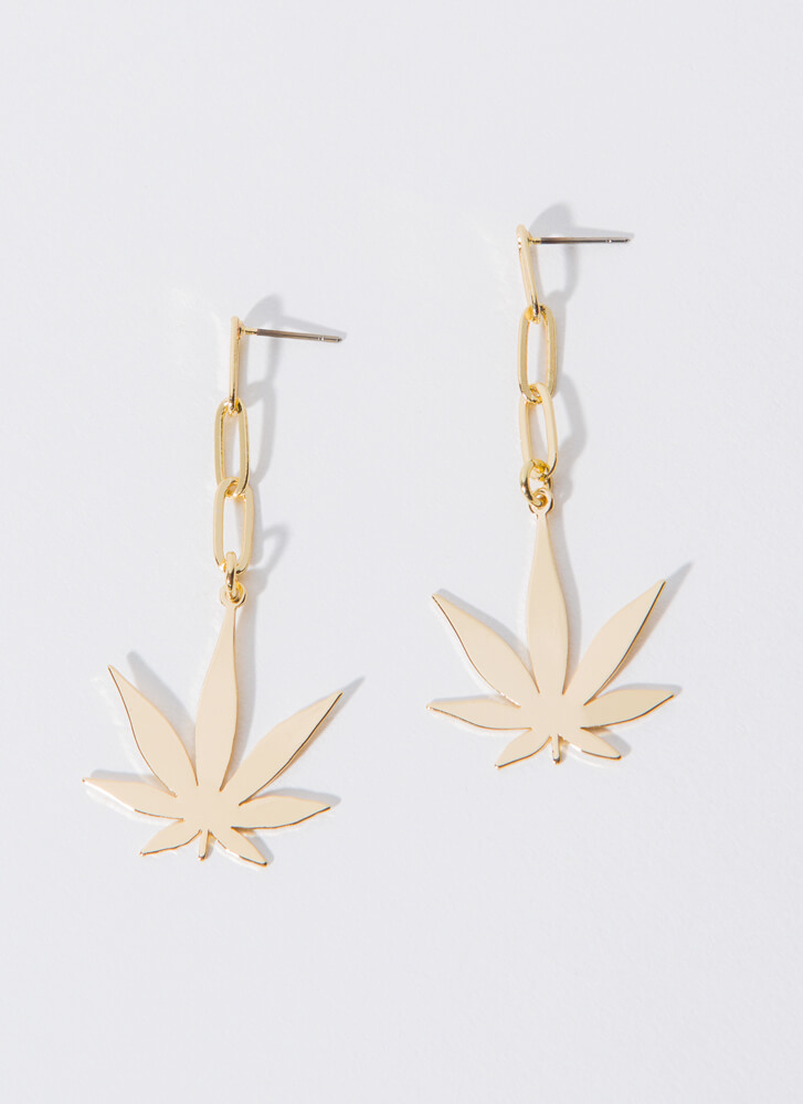 Leaf Me Hanging Chain Link Earrings GOLD