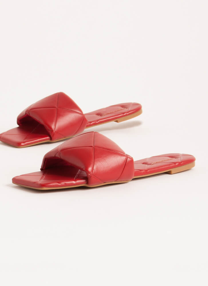 Tile Me About It Padded Slide Sandals RED