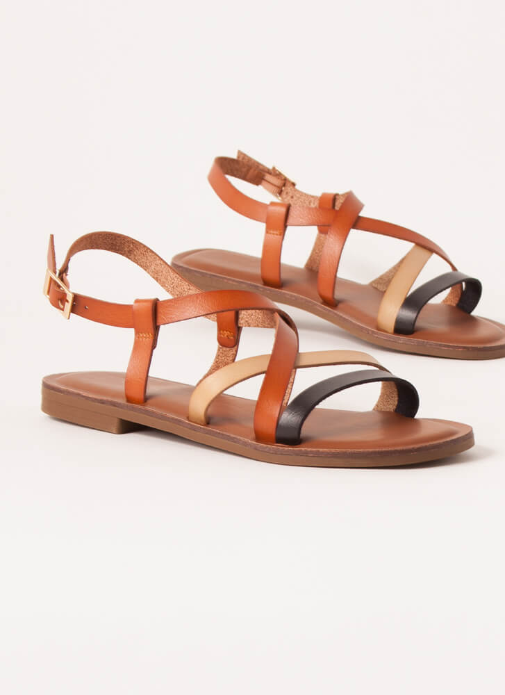 Strappy Thoughts Tri-Color Sandals BLACK