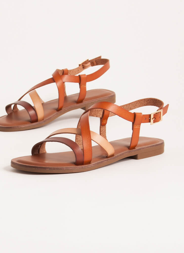 Strappy Thoughts Tri-Color Sandals BROWN