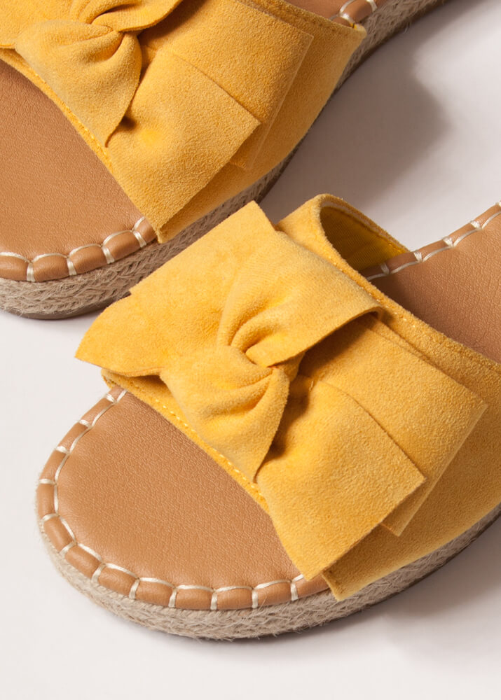 Bow With The Flow Braided Slide Sandals AMBER
