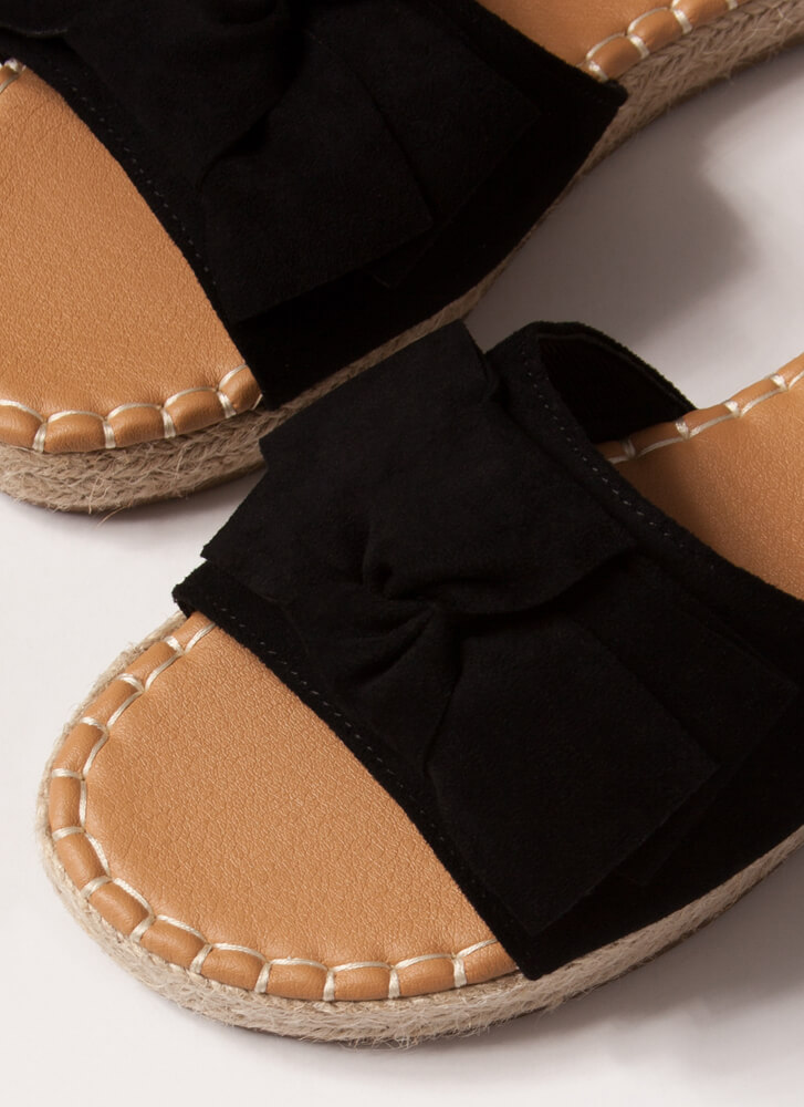Bow With The Flow Braided Slide Sandals BLACK